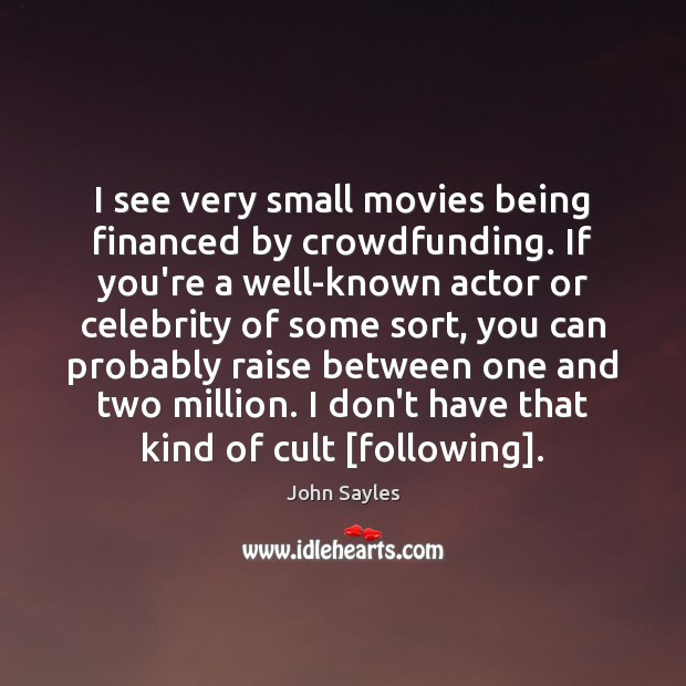 I see very small movies being financed by crowdfunding. If you're a Image