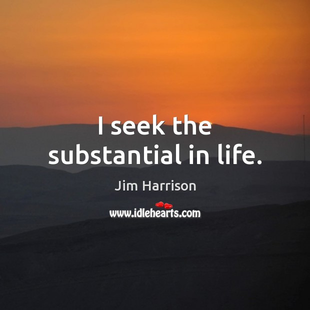 I seek the substantial in life. Jim Harrison Picture Quote
