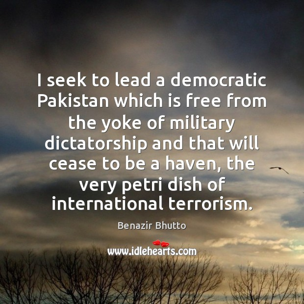 Image, I seek to lead a democratic Pakistan which is free from the
