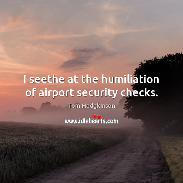 I seethe at the humiliation of airport security checks. Tom Hodgkinson Picture Quote