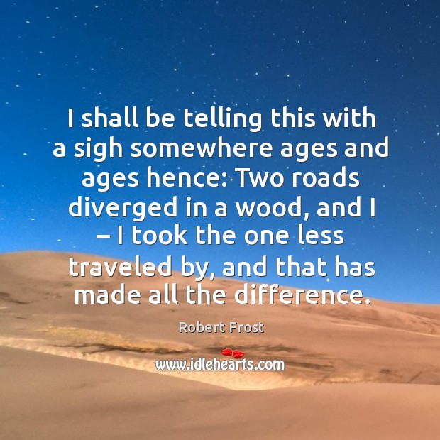 I shall be telling this with a sigh somewhere ages and ages hence: two roads diverged in a wood Image