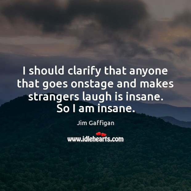 Jim Gaffigan Picture Quote image saying: I should clarify that anyone that goes onstage and makes strangers laugh