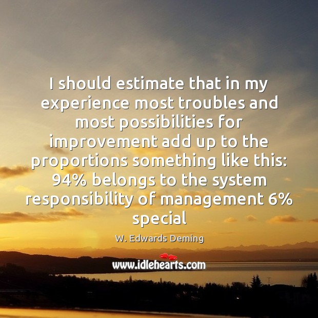 I should estimate that in my experience most troubles and most possibilities W. Edwards Deming Picture Quote