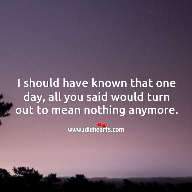 I should have known that one day, all you said would turn out to mean nothing anymore. Image