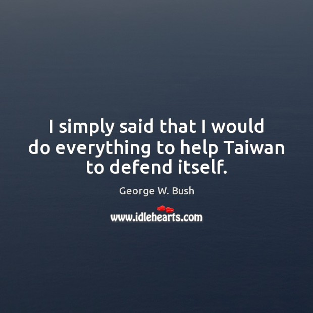 Image, I simply said that I would do everything to help Taiwan to defend itself.