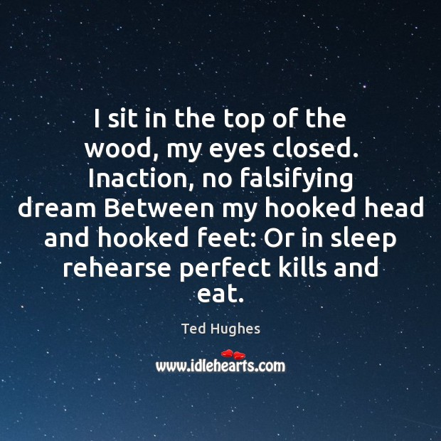 I sit in the top of the wood, my eyes closed. Inaction, Ted Hughes Picture Quote