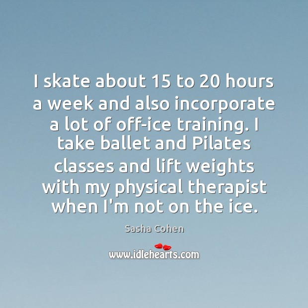 Image, I skate about 15 to 20 hours a week and also incorporate a lot