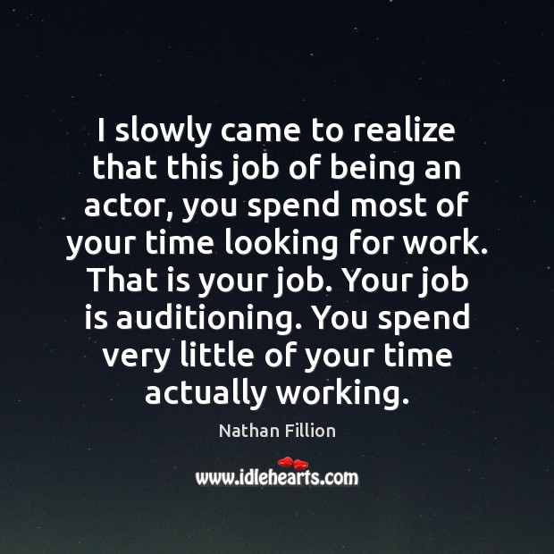 I slowly came to realize that this job of being an actor, Image