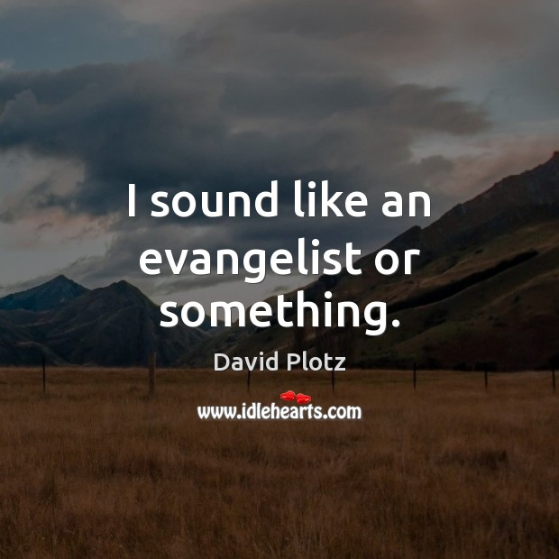 I sound like an evangelist or something. David Plotz Picture Quote