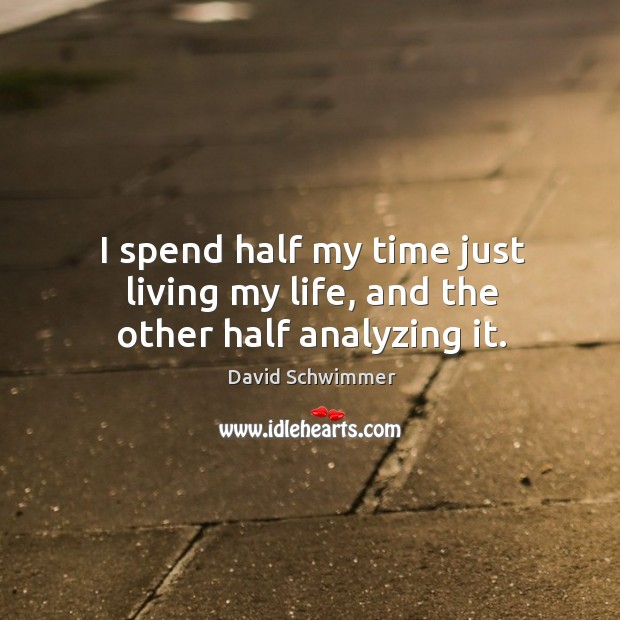 I spend half my time just living my life, and the other half analyzing it. David Schwimmer Picture Quote