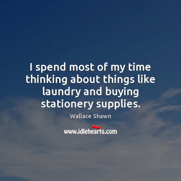 I spend most of my time thinking about things like laundry and buying stationery supplies. Wallace Shawn Picture Quote