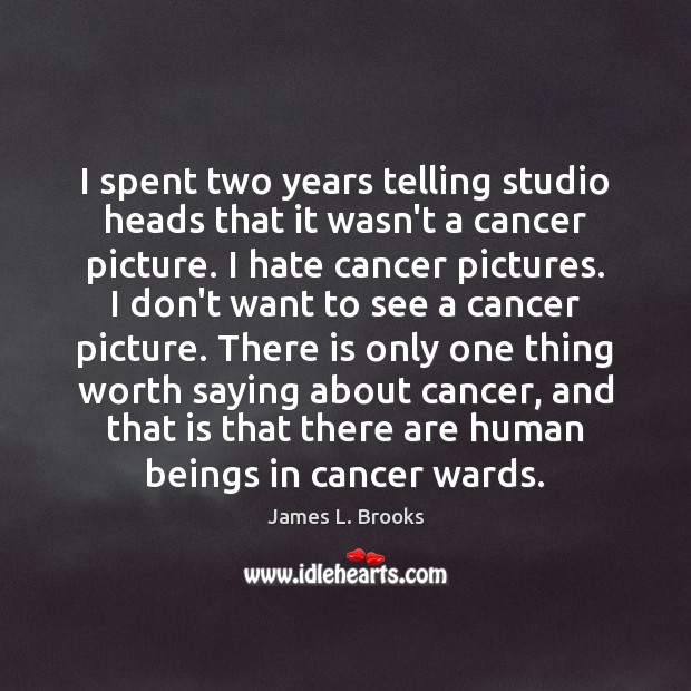 I spent two years telling studio heads that it wasn't a cancer Image