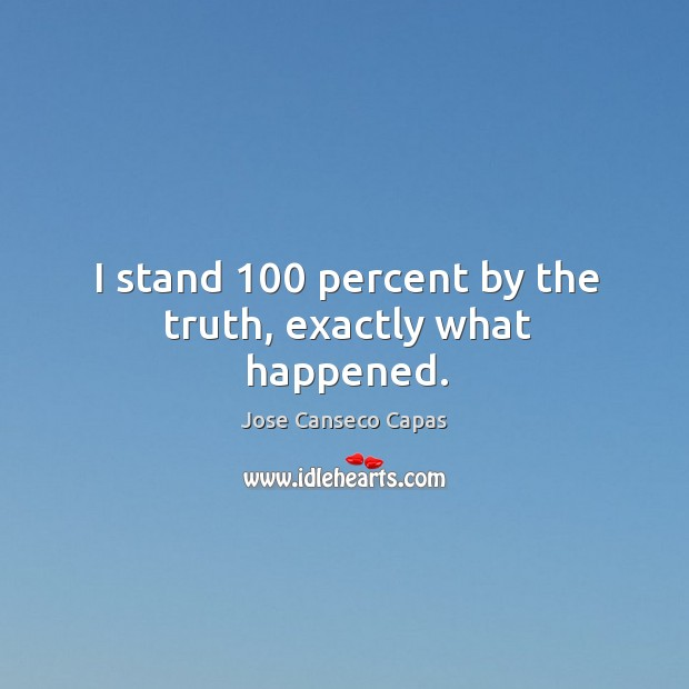 I stand 100 percent by the truth, exactly what happened. Image