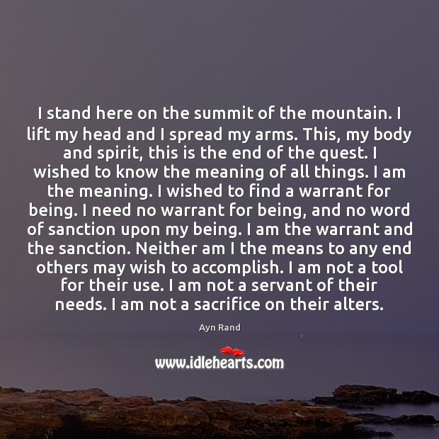 I stand here on the summit of the mountain. I lift my Image