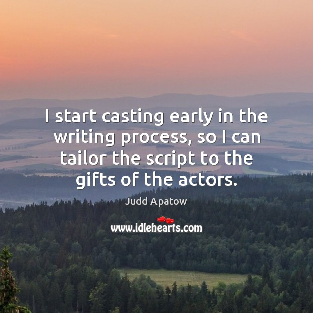 I start casting early in the writing process, so I can tailor Image