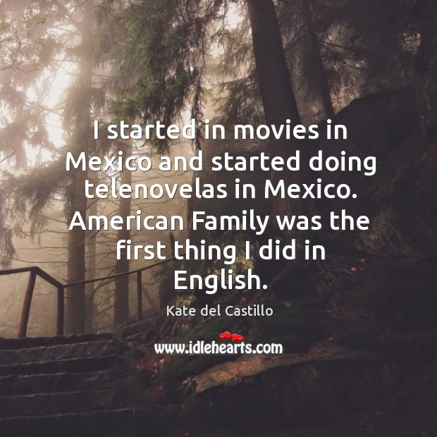 I started in movies in Mexico and started doing telenovelas in Mexico. Kate del Castillo Picture Quote