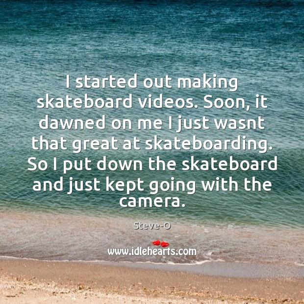Image, I started out making skateboard videos. Soon, it dawned on me I