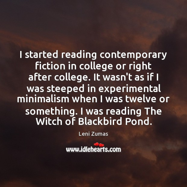I started reading contemporary fiction in college or right after college. It Image