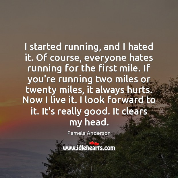 I started running, and I hated it. Of course, everyone hates running Pamela Anderson Picture Quote