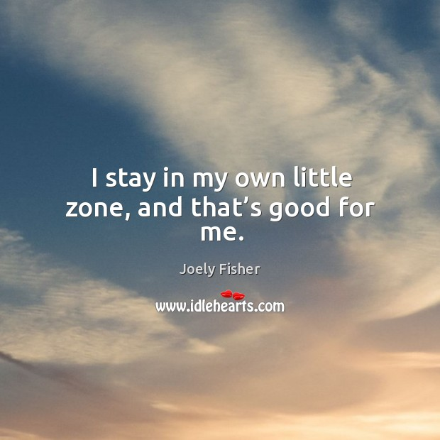 I stay in my own little zone, and that's good for me. Joely Fisher Picture Quote