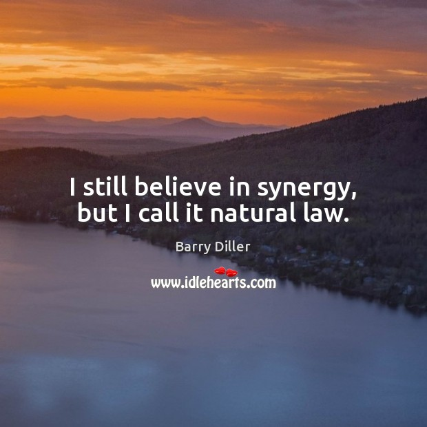 Image, I still believe in synergy, but I call it natural law.