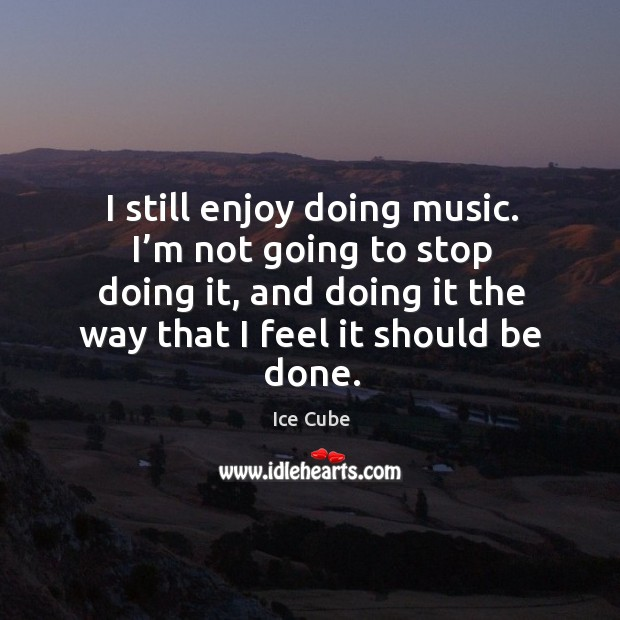 I still enjoy doing music. I'm not going to stop doing it, and doing it the way that I feel it should be done. Image