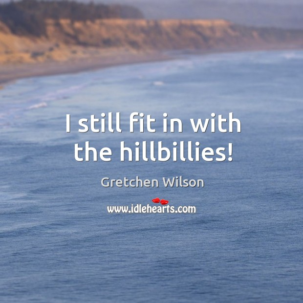 I still fit in with the hillbillies! Gretchen Wilson Picture Quote