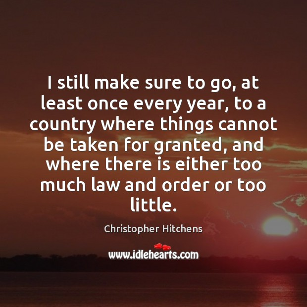 I still make sure to go, at least once every year, to Christopher Hitchens Picture Quote