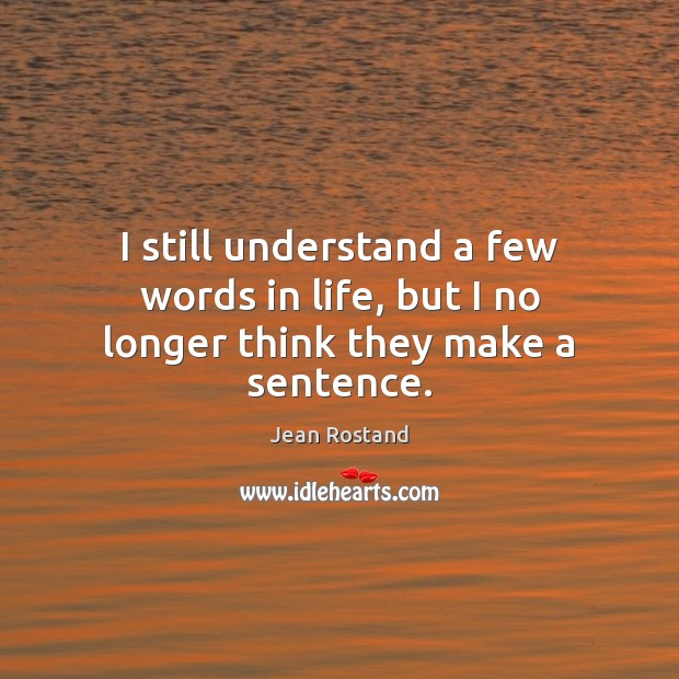 I still understand a few words in life, but I no longer think they make a sentence. Jean Rostand Picture Quote
