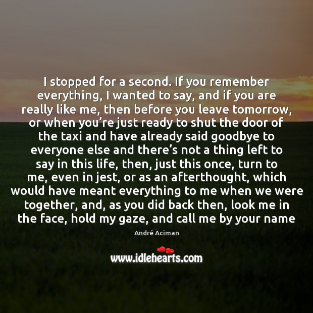 I stopped for a second. If you remember everything, I wanted to Goodbye Quotes Image