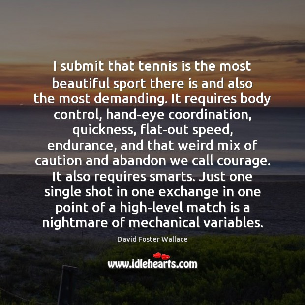 I submit that tennis is the most beautiful sport there is and Image