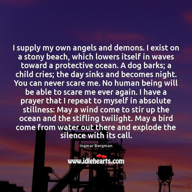 I supply my own angels and demons. I exist on a stony Image