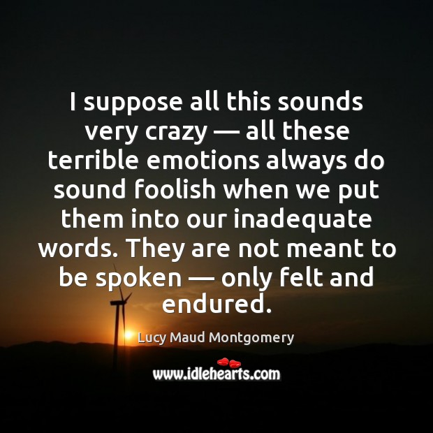 I suppose all this sounds very crazy — all these terrible emotions always Image