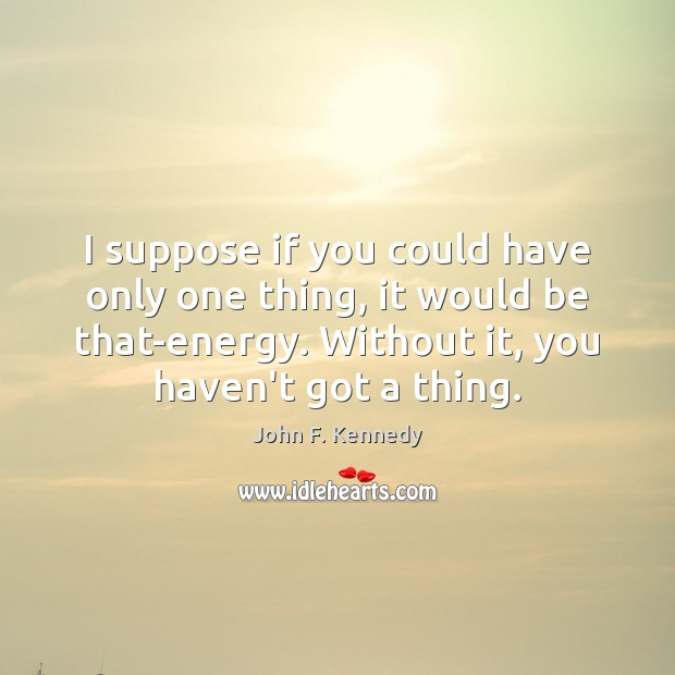 I suppose if you could have only one thing, it would be John F. Kennedy Picture Quote