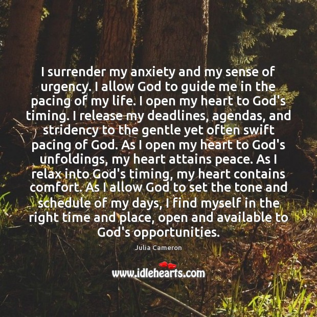 I surrender my anxiety and my sense of urgency. I allow God Image