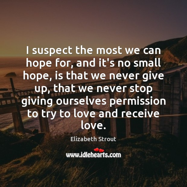 I suspect the most we can hope for, and it's no small Elizabeth Strout Picture Quote