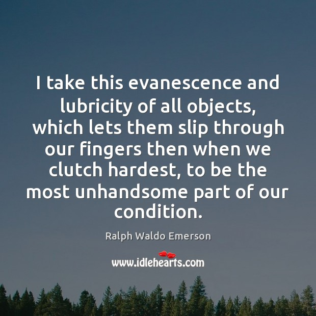 Image, I take this evanescence and lubricity of all objects, which lets them
