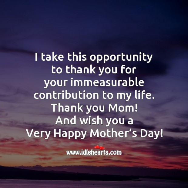 I take this opportunity to thank you for Mother's Day Quotes Image