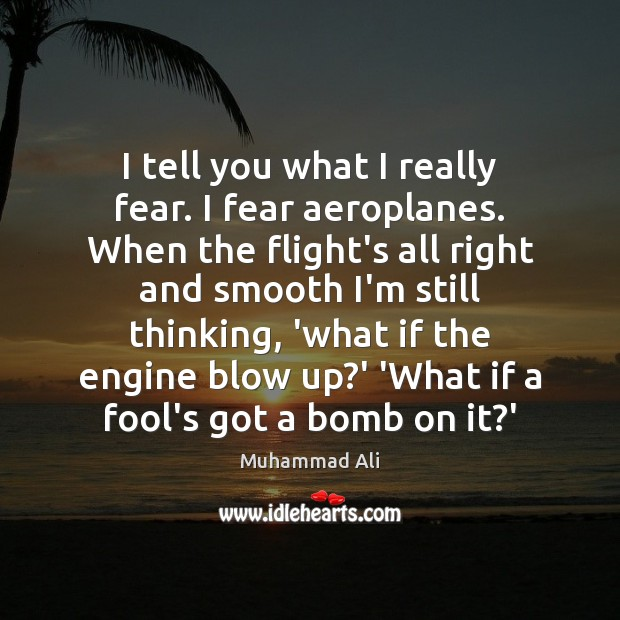 I tell you what I really fear. I fear aeroplanes. When the Muhammad Ali Picture Quote