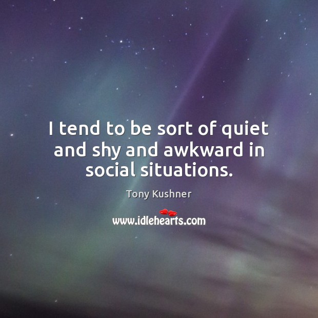 Image, I tend to be sort of quiet and shy and awkward in social situations.