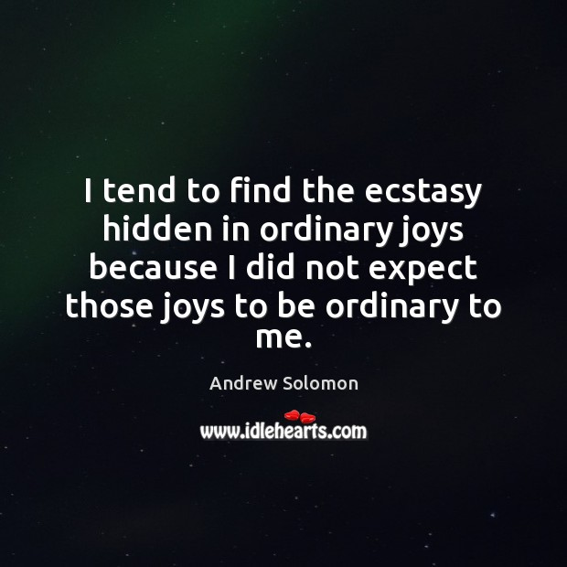 I tend to find the ecstasy hidden in ordinary joys because I Image