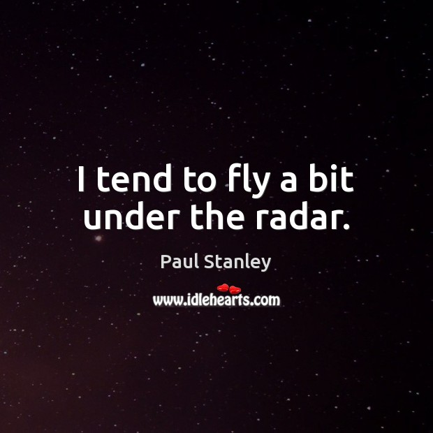 I tend to fly a bit under the radar. Paul Stanley Picture Quote