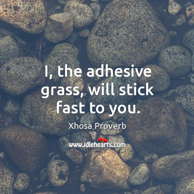 Image, I, the adhesive grass, will stick fast to you.