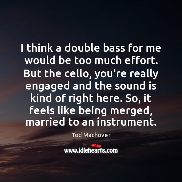 I think a double bass for me would be too much effort. Tod Machover Picture Quote