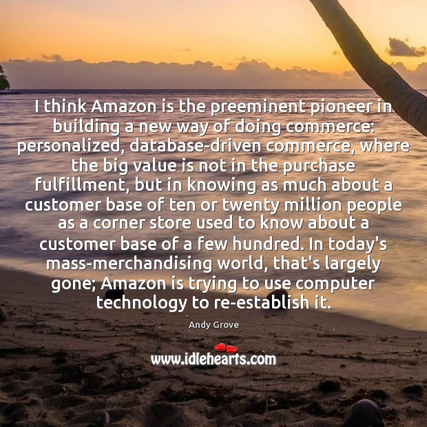 Image, I think Amazon is the preeminent pioneer in building a new way