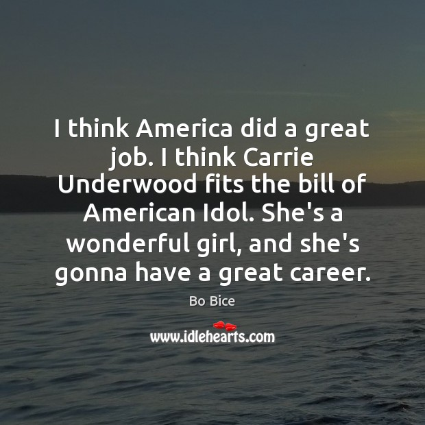 Image, I think America did a great job. I think Carrie Underwood fits