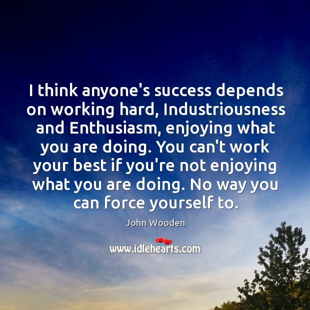 I think anyone's success depends on working hard, Industriousness and Enthusiasm, enjoying Image