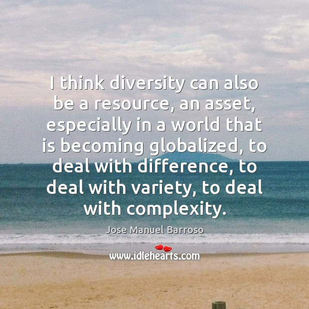 Image, I think diversity can also be a resource, an asset, especially in
