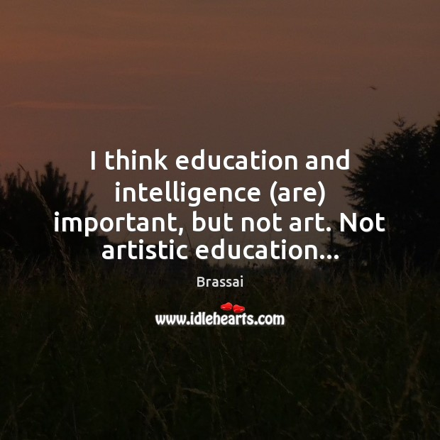 Image, I think education and intelligence (are) important, but not art. Not artistic education…