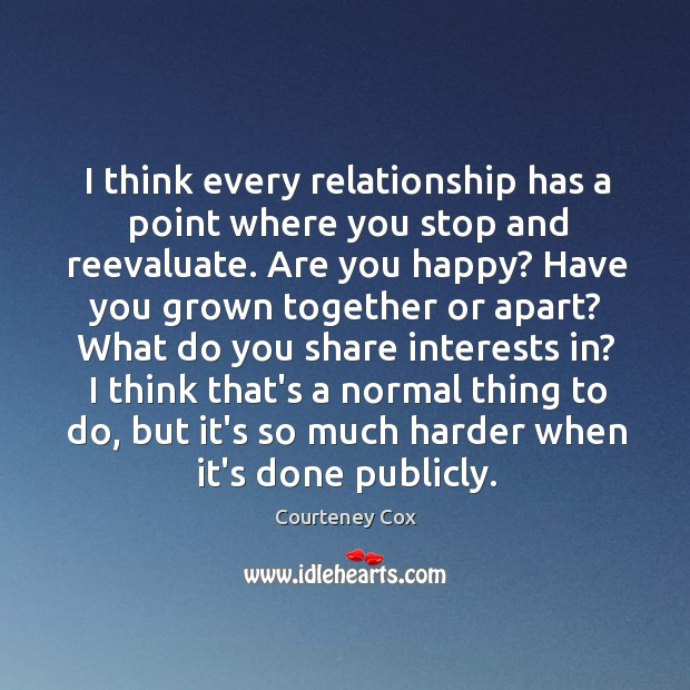I think every relationship has a point where you stop and reevaluate. Image